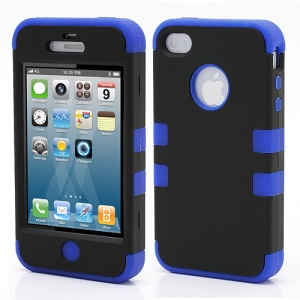 Heavy-Duty Silicone & PC Hybrid Shatterproof Combo Case for iPhone 4 4S - Black / Blue