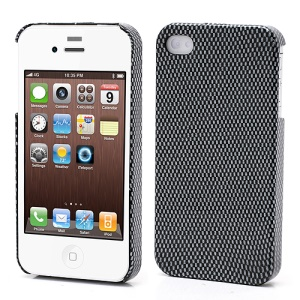 Gloosy Surface Grid Pattern Hard Case Cover for iPhone 4 4S