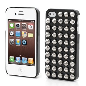 Cool Rivet Studs Plastic Hard Phone Case for iPhone 4 4S - Black