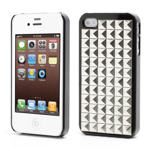 Silver Pyramid Studded Punk Stud Rivet Hard Case for iPhone 4 4S - Black