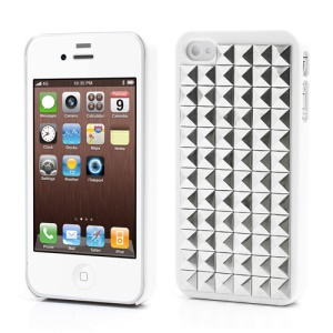 Silver Pyramid Studded Punk Stud Rivet Hard Case for iPhone 4 4S - White