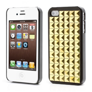 Golden Pyramid Rivet Punk Stud Spike Hard Case Shell for iPhone 4 4S - Black