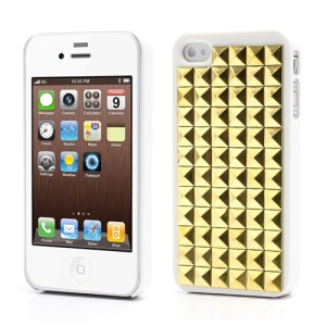 Golden Pyramid Rivet Punk Stud Spike Hard Case Shell for iPhone 4 4S - White