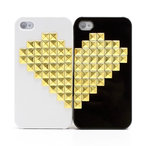 2Pcs Valentine Lovers Couple Golden Heart Pyramid Stud Rivet Hard Case for iPhone 4 4S