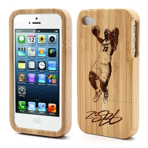 Detachable Carved No23 Basketball Player Protective Bamboo Case for iPhone 4S 4