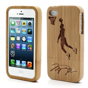 Detachable Carved One-handed Dunking Bamboo Case Cover for iPhone 4S 4