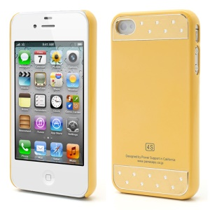 Smooth Plastic w/ 2 Piece of Brushed Metal Hard Cases for iPhone 4 4S - Yellow
