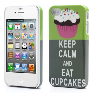 iPhone 4 4S Glossy Plastic Case Keep Calm and Eat Cupcakes Style