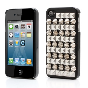 Trendy Punk Cone Pyramid Spikes Rivet Studded Hard Case Cover for iPhone 4 4S - Silver / Black