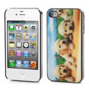 3D Adorable Dogs Hard Plastic Cover Case for iPhone 4 4S