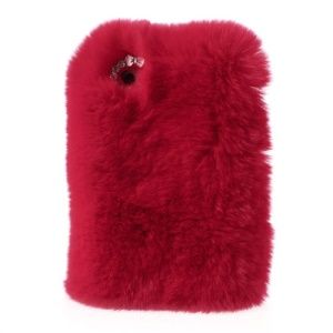 Red Stylish Soft Genuine Rabbit Fur Hard Cover for iPhone 4s 4