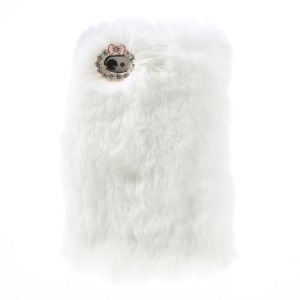 White Stylish Warm Genuine Rabbit Fur PC Hard Cover for iPhone 4s 4