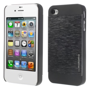 MOTOMO Brushed Aluminium Metal Skin Hard Case for iPhone 4 4s - Black
