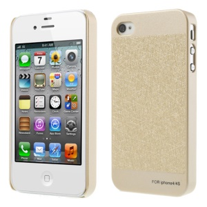 Champagne Gold Silk Leather Skin PC Hard Cover for iPhone 4S 4