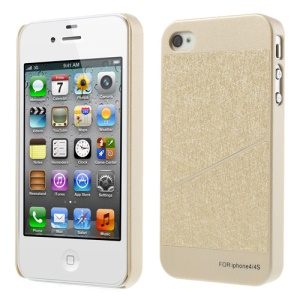 Two Sections Pattern Champagne Gold Hard Back Case for iPhone 4S 4