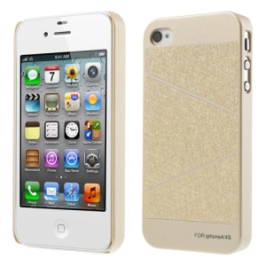 For iPhone 4S 4 Three Sections Design Champagne Gold Hard Case Accessory