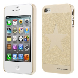 For iPhone 4S 4 Five-pointed Star Champagne Gold Hard Skin Case