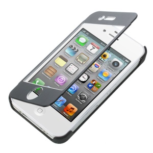 Full-screen Touchable Brushed Metal + Plastic Flip Cover for iPhone 4s 4 - Black
