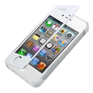Full-screen Touchable Brushed Metal + Plastic Flip Case for iPhone 4s 4 - White