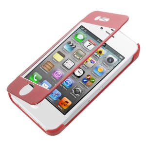 Full-screen Touchable Front and Back Hard Case for iPhone 4s 4 - Red