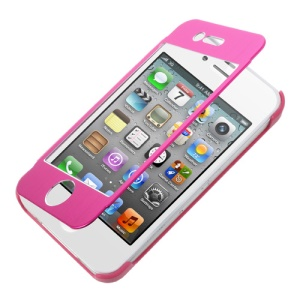 For iPhone 4s 4 Full-screen Touchable Brushed Metal Front and Plastic Back Case - Rose