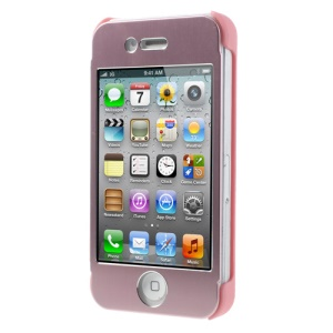 Full-screen Touchable Front and Back Case Shell for iPhone 4s 4 - Pink