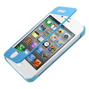 Full-screen Touchable Brushed Metal + Plastic Flip Cover for iPhone 4s 4 - Blue
