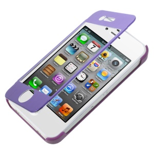 Full-screen Touchable Brushed Metal Front + Plastic Back Case for iPhone 4s 4 - Purple