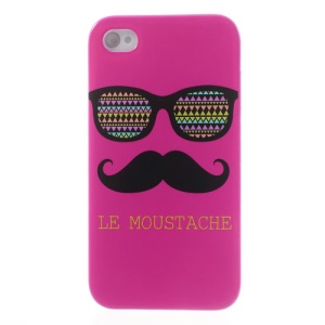 Rose Le Moustache & Glasses Plastic Back Case for iPhone 4s 4