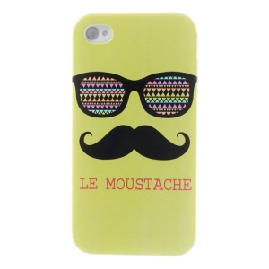 Green Le Moustache & Glasses Plastic Back Case for iPhone 4s 4
