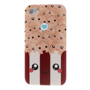 For iPhone 4s 4 Lovely Popcorn Pattern Tough Hard Cover