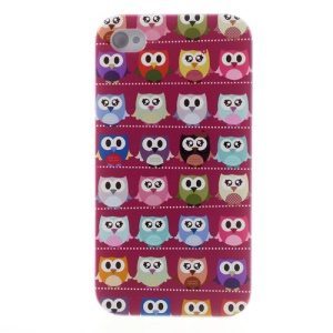 For iPhone 4s 4 Multiple Cute Owls Rose Background Hard Shell