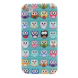 For iPhone 4s 4 Multiple Cute Owls Cyan Background Hard Case