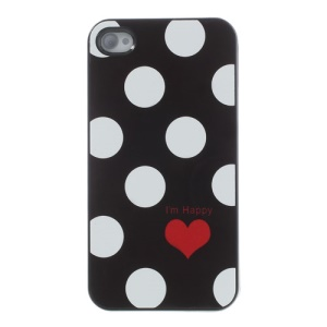Polka Dots & Red Heart Glossy Aluminum Metal Coated Hard PC Case for iPhone 4s 4