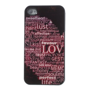English Words Glossy Aluminum Metal Coated Hard Case for iPhone 4s 4