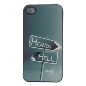 Heaven & Hell Signpost for iPhone 4s 4 Aluminum Metal Coated Hard Cover