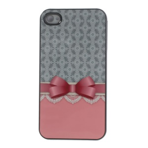 For iPhone 4s 4 Aluminum Skin Hard PC Cover Bowknot & Lace Design