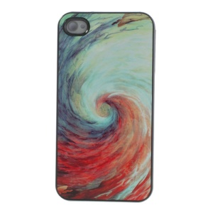 For iPhone 4s 4 Aluminum Skin Hard PC Cover Colored Swirl Design