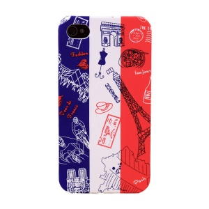 UMKU for iPhone 4s 4 France Flag & Tourist Attractions Protective Hard Cover