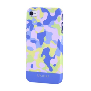 Light Blue UMKU Camouflage Design Slim Hard Cover for iPhone 4s 4