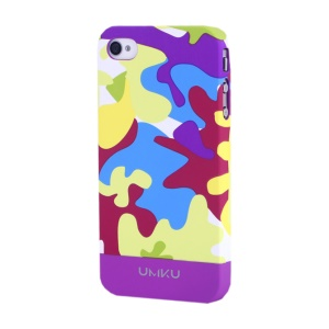 Light Purple UMKU Camouflage Design Slim Hard Shell for iPhone 4s 4