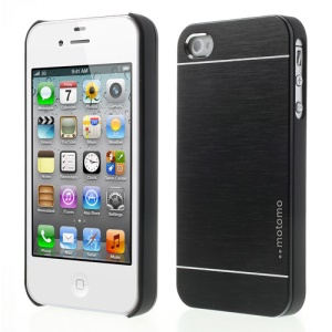 Black MOTOMO Brushed Aluminum Metal Hard Back Case for iPhone 4 4S