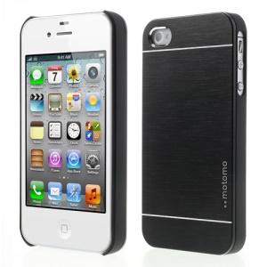 Black MOTOMO Brushed Aluminum Metal Hard Back Case for iPhone 4 4S