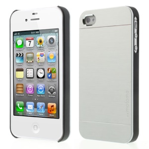 Silver MOTOMO Brushed Aluminum Metal Hard Shield Shell for iPhone 4 4S