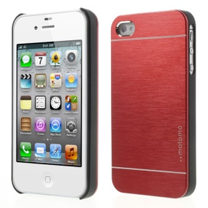 Red MOTOMO for iPhone 4 4S Brushed Aluminum Metal Hard Case Accessory