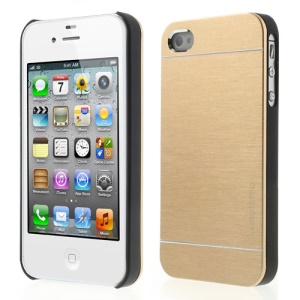 Gold for iPhone 4 4S MOTOMO Brushed Aluminum Metal Hard Protective Shell