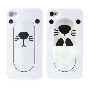 Ozaki Faagaa Plastic Phone Shell for iPhone 4S 4 w/ Tongue Snap Stand - Seal