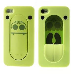 For iPhone 4S 4 Ozaki Faagaa Hard Shell Case w/ Tongue Snap Stand - Crocodile