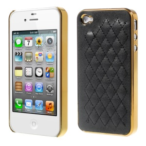 Rhombus Leather Coated Plating Hard Plastic Case for iPhone 4S 4 - Gold / Black