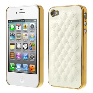 Rhombus Leather Coated Plating Hard Phone Case for iPhone 4S 4 - Gold / White